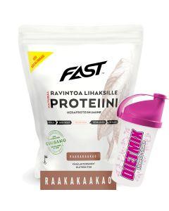 Fast Natural Protein heraproteiinijauhe Raakakaakao 500g + Shaker kaupan päälle!
