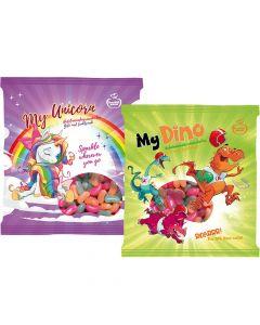 Karkkipussi My Unicorn & My Dino hedelmämakeisraesekoitus 130g x 2-pack