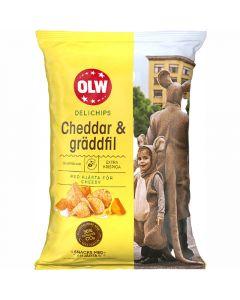 OLW Delichips Cheddar & Gräddfil perunalastu 150g