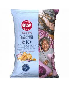 OLW Delichips Gräddfil & Lök - Sour Cream & Onion perunalastu 150g