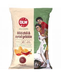 OLW Delichips Mild Chili & Syrad Grädde perunalastu 150g