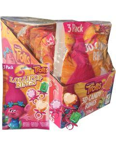 Trolls 3D Candy Ring 3-pack x 12kpl